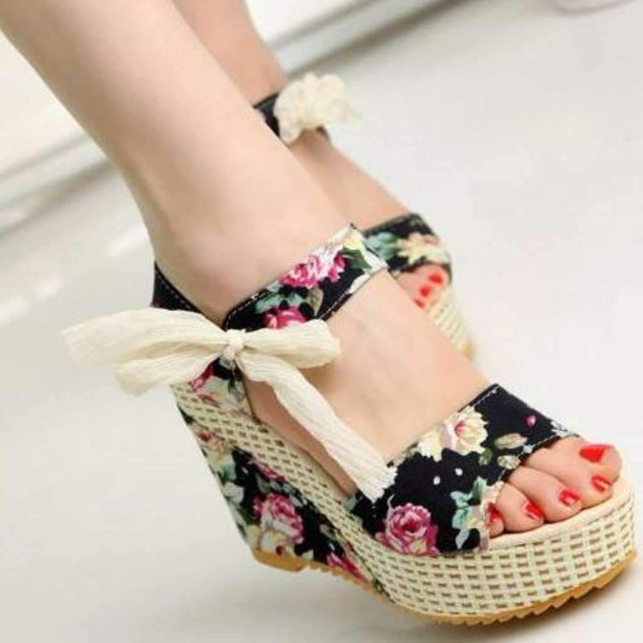 f4703c77a23 Sexy Floral Print Floral Lace Up Wedge Sandals Shoes