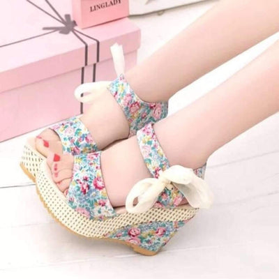 Daisy Dress For Less Shoes,Wedges 4.5 / Floral Blue Sexy Floral Print Floral Lace Up Wedge Sandals