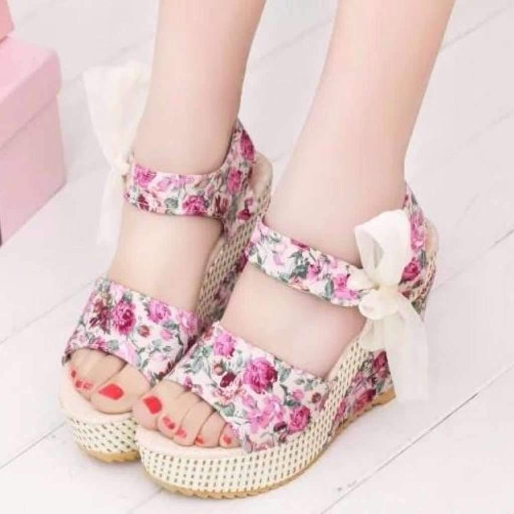 Sexy Floral Print Floral Lace Up Wedge