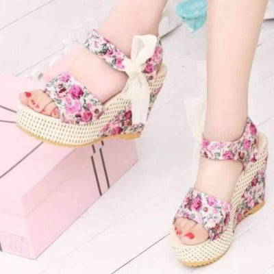 Sexy Floral Print Floral Lace Up Wedge Sandals Shoes,Wedges Daisy Dress For Less