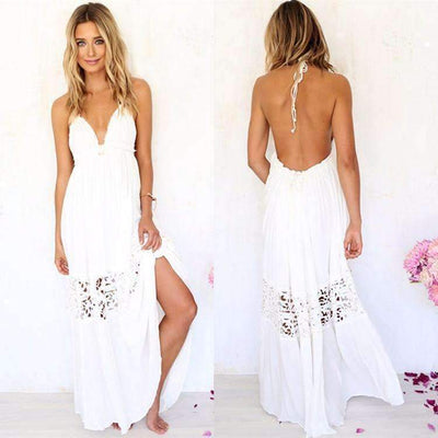 Sexy Open Back Crochet Women Beach Dress Maxi Dress Daisy Dress For Less