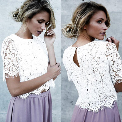 Short Sleeve Lace Crop Top Blouses & Shirts Daisy Dress For Less