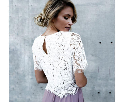 Short Sleeve Lace Crop Top Blouses & Shirts Hotwon Marque Store