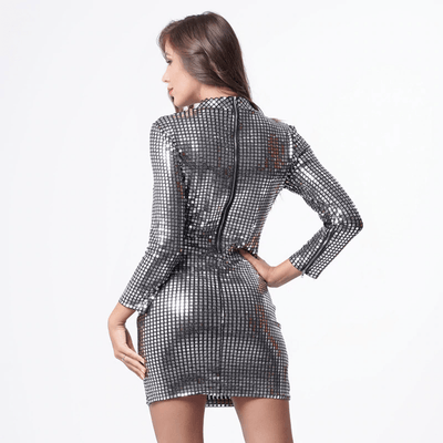 Silver Sparkly Dress Long Sleeve Turtleneck Bodycon Dress Dresses Daisy Dress For Less