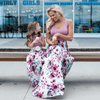 Sleeveless Floral Print Mommy And Me Maxi Dresses Matching Family Outfits Daisy Dress For Less