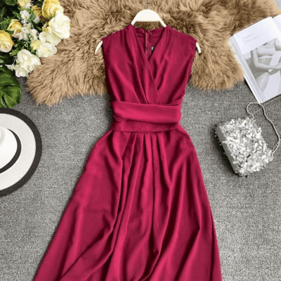 Sleeveless Midi Dresses V Neck Belted Dress Dresses Daisy Dress For Less