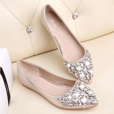 Sparkle Women's Dress Flat Shoes With Rhinestones Women's Flats Daisy Dress For Less