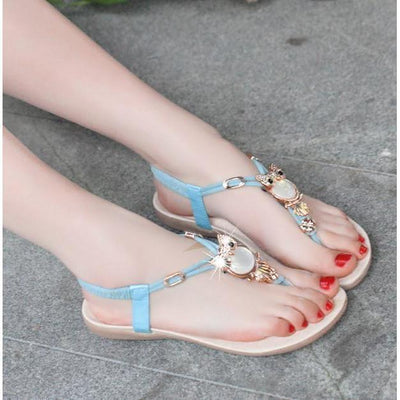 T-Strap Gold Pleated Owl Rubber Women Flat Sandals Flat Sandal Daisy Dress For Less