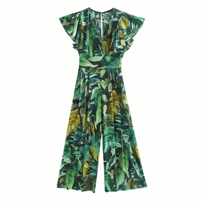 Tropical Print Jumpsuits Leaves Print Wide Leg Jumpsuits Daisy Dress For Less