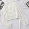 Turtleneck Cropped Top Patchwork Chiffon Sleeve Sweater Blouses & Shirts Daisy Dress For Less