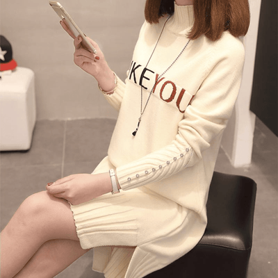 Turtleneck Long Sleeve Dress Letter Print Sweater Dress Pullovers Daisy Dress For Less