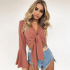 V Neck Crop Top Long Flare Sleeve Top Crop Tops Daisy Dress For Less