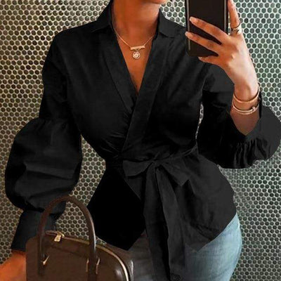 V Neck Long Sleeve Top Lantern Sleeve Blouse Blouses & Shirts MeiXing Apparel Store