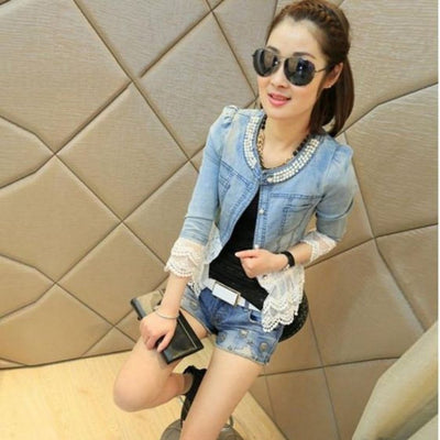 Vintage Beaded Lace Denim  Women Jacket Jackets Daisy Dress For Less