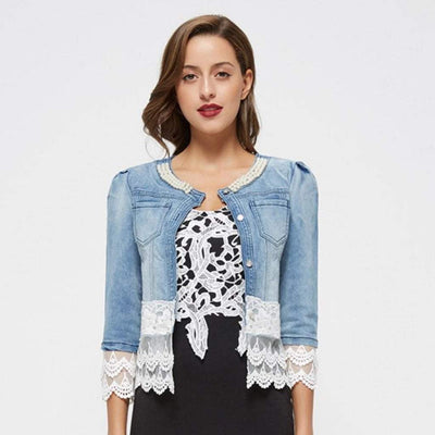 Vintage Beaded Lace Denim  Women Jacket Coats & Jackets HEEGRAND women
