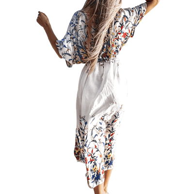 White Bathing Suit Cover Up Floral Swimsuit Kimono Cover-up Daisy Dress For Less