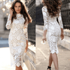 White Lace Bodycon Dress Long Sleeve Pencil Dress Dresses Daisy Dress For Less
