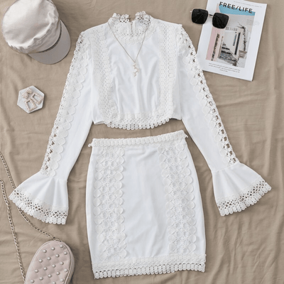 White Lace Bodycon Dress Two Piece Crochet Dress Dresses Daisy Dress For Less
