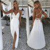 White Lace Maxi Dress High Slits Backless Dresses Daisy Dress For Less