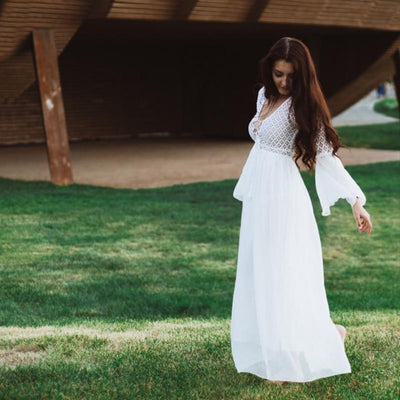 White Long Flare Sleeve Womens Boho Lace Maxi Dress Dresses Daisy Dress For Less