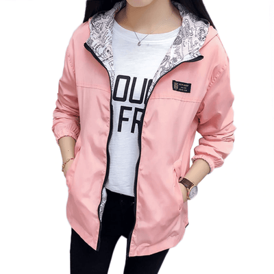Women Hooded Bomber Jacket Two Side Wear Windbreaker Jackets LJHFCDP-01 Store