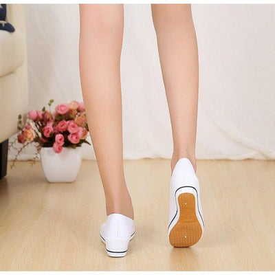 Women Round Toe Slip On Patchwork Wedge Shoes Flat shoes Daisy Dress For Less