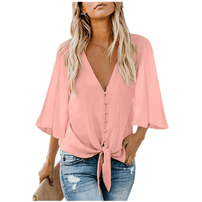 Womens Chiffon Blouse V Neck Batwing Top Blouses & Shirts Daisy Dress For Less