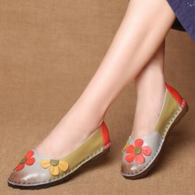 Womens Leather Flat Shoes gray | Daisy Dress For Less