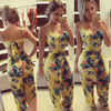 Yellow Floral Jumpsuits Wide Leg Rompers For Women Jumpsuits Daisy Dress For Less