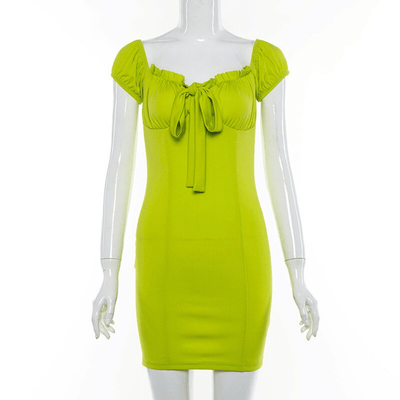 Yellow Green Dress Off The Shoulder Mini Dress Dresses Daisy Dress For Less