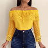 Yellow Off Shoulder Top Lace Tops For Women Blouses & Shirts Daisy Dress For Less