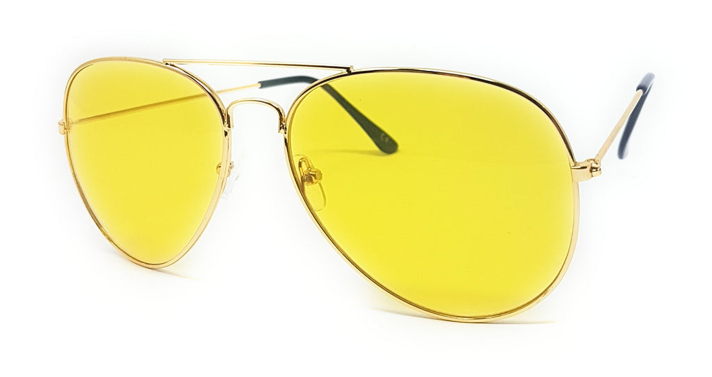 Wholesale Metal Frame Classic Sunglasses - Gold Frame, Yellow Lens