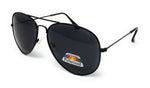 Polarised Metal Frame Classic Sunglasses - Black Frame, Black Lens