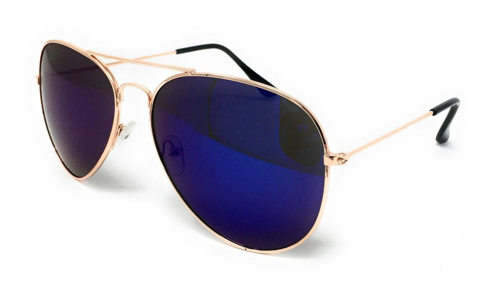 Wholesale Metal Frame Classic Sunglasses - Gold Frame, Blue Mirrored Lens