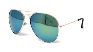 Wholesale Metal Frame Classic Sunglasses - Gold Frame, Green/Gold Mirrored Lens