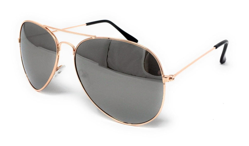 Wholesale Metal Frame Classic Sunglasses - Gold Frame, Silver Mirrored Lens