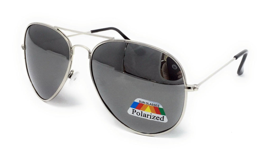 Polarised Metal Frame Classic Sunglasses - Silver Frame, Silver Mirrored Lens