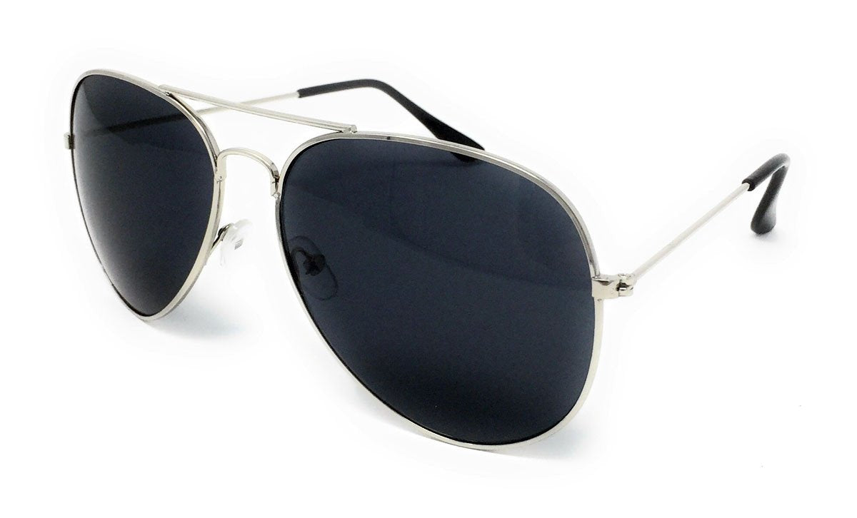 Wholesale Metal Frame Classic Sunglasses - Silver Frame, Black Lens