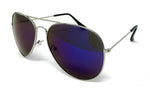 Wholesale Metal Frame Classic Sunglasses - Silver Frame, Blue Mirrored Lens