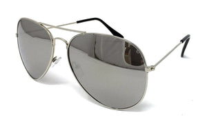 Wholesale Kids Metal Frame Classic Sunglasses - Silver Frame, Silver Mirrored Lens