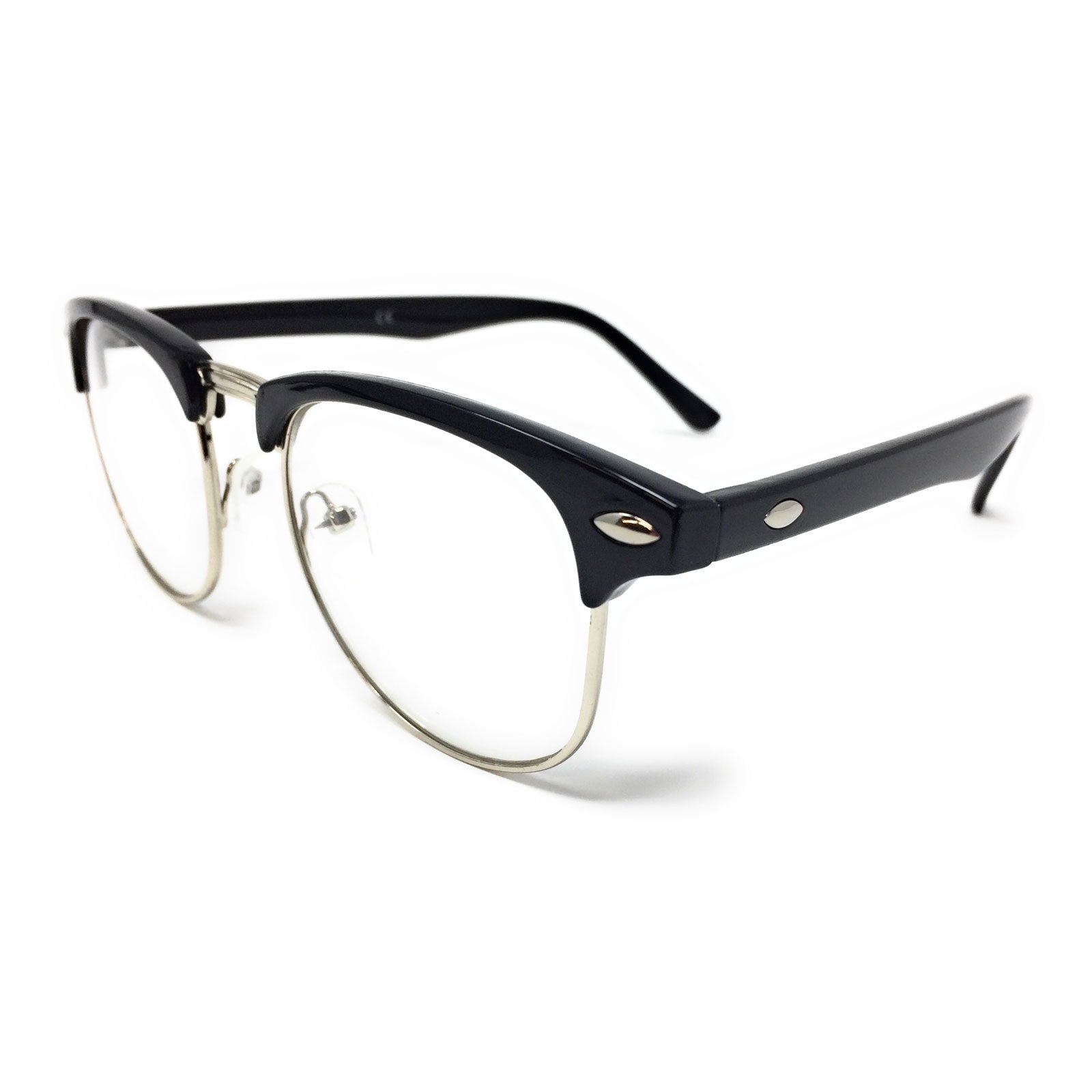 Wholesale 1950s Half Rim Clear Lens Glasses - Black Frame