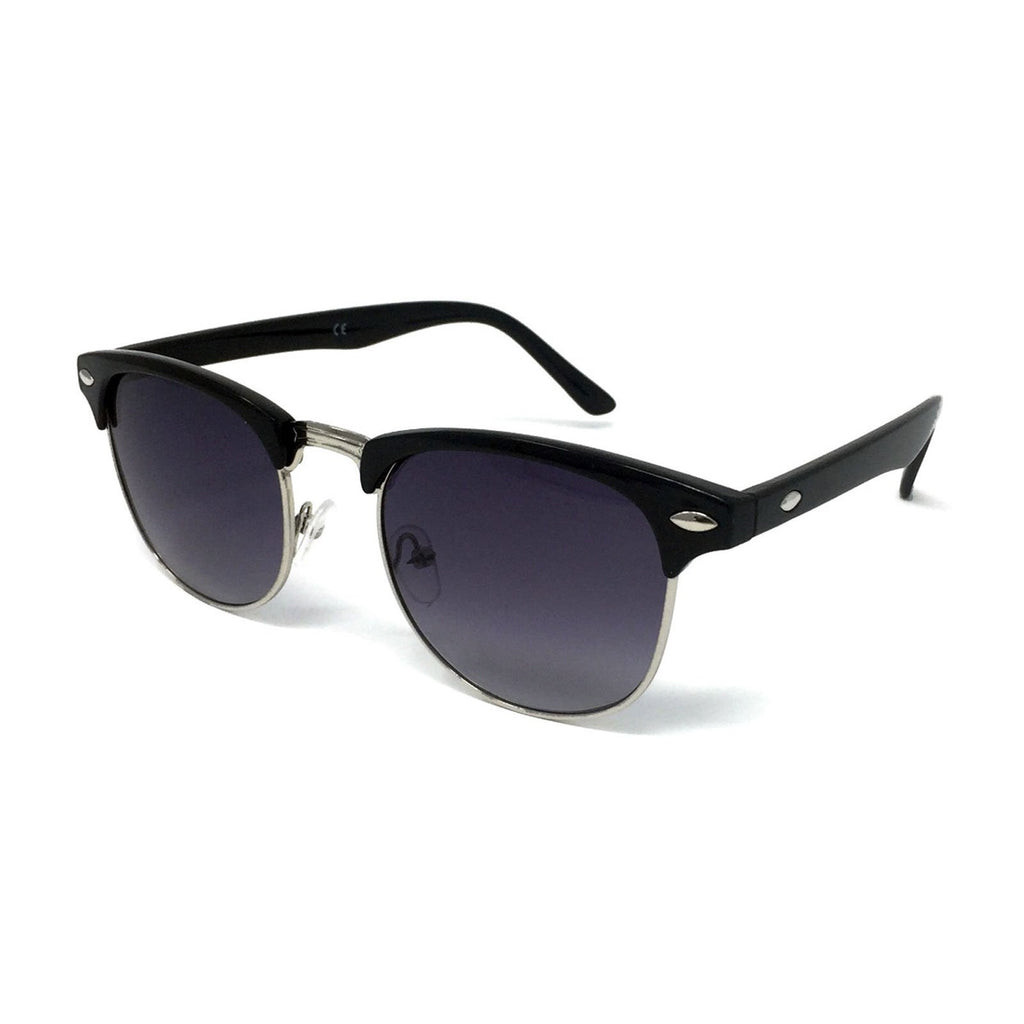 Wholesale 1950s Half Rim Sunglasses - Black Frame, Black Gradient Lens
