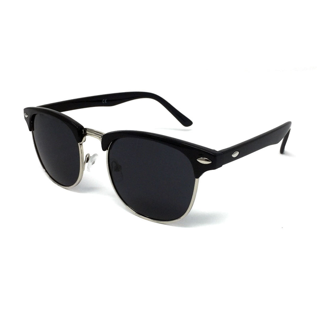 Wholesale Kids 1950s Half Rim Sunglasses - Black Frame, Black Lens