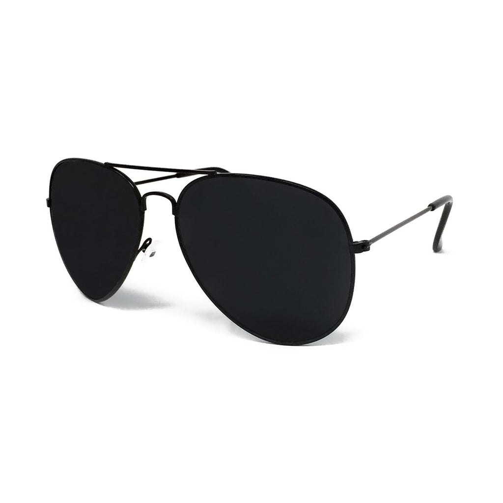 Wholesale Metal Frame Classic Sunglasses - Black Frame, Black Lens