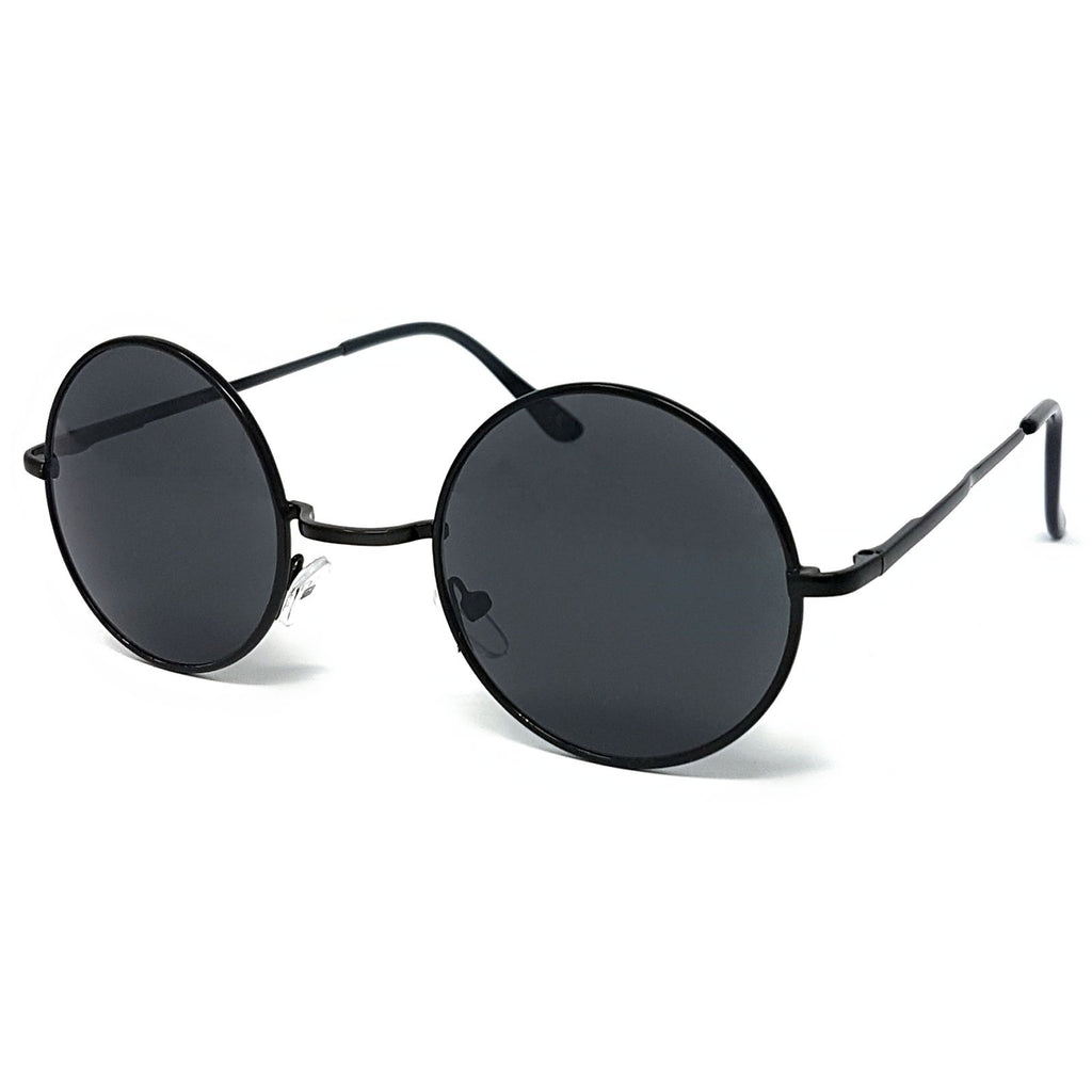 Wholesale Round Lens Sunglasses - Black Frame, Black Lens