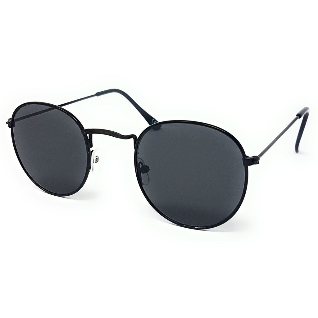 Wholesale Flat Top Round Lens Sunglasses - Black Frame, Black Lens