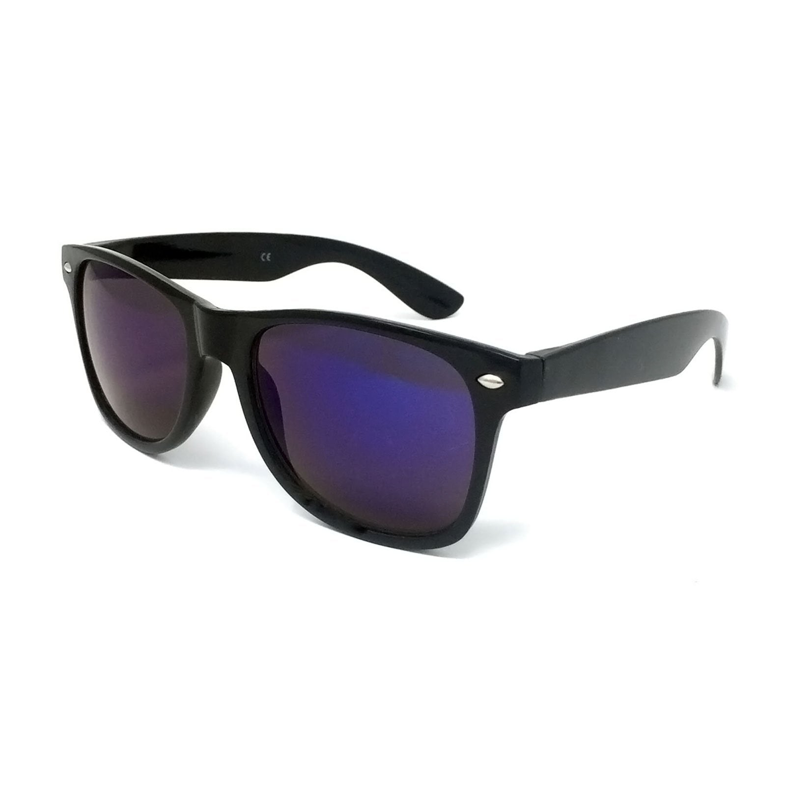 Wholesale Classic Sunglasses - Black Frame, Blue Mirrored Lens