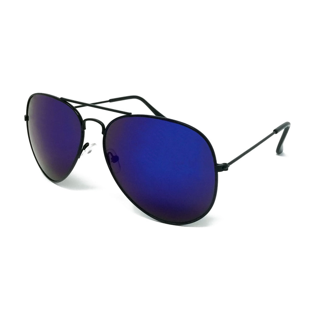 Wholesale Metal Frame Classic Sunglasses - Black Frame, Blue Mirrored Lens