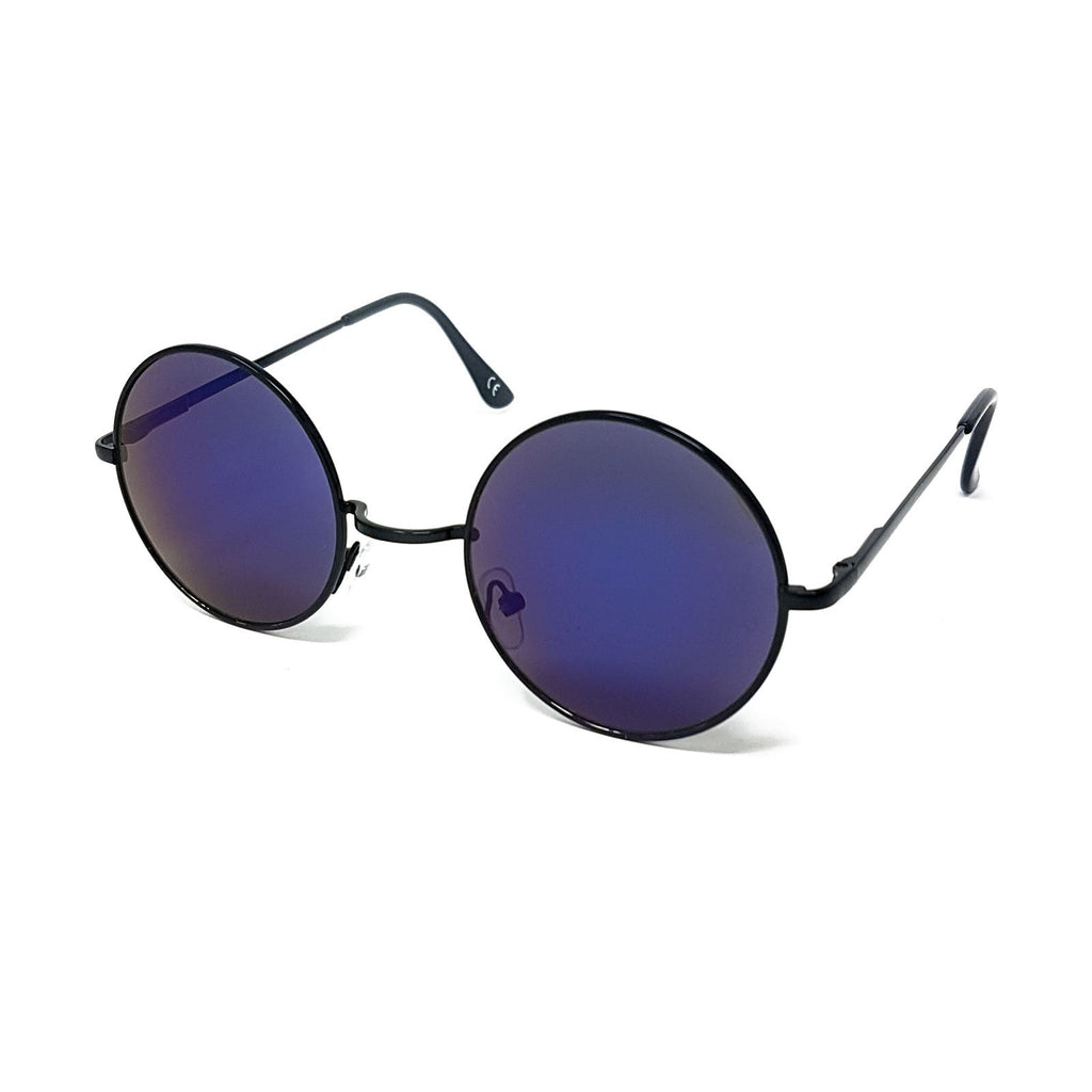Wholesale Round Lens Sunglasses - Black Frame, Blue Mirrored Lens