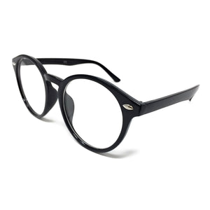 Wholesale Large Round Clear Lens Glasses - Black Frame